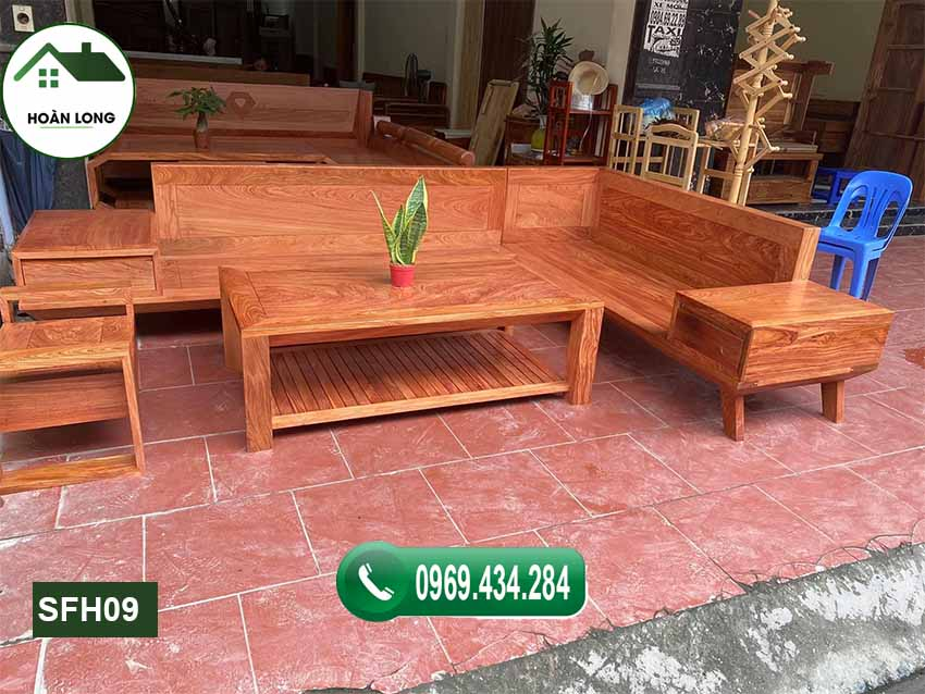 Bộ ghế sofa chân oải gỗ hương xám SFH09