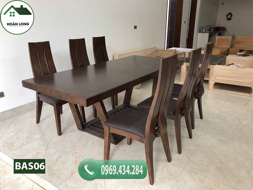 Bàn ăn 6 ghế mặt liền hình chữ nhật gỗ sồi Nga đơn giản BAS06