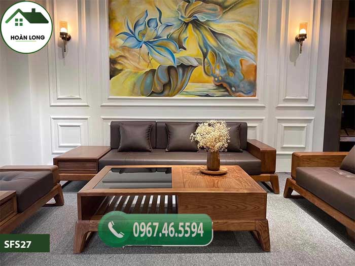 Bộ ghế sofa 2 văng chân quỳ gỗ sồi Nga SFS27