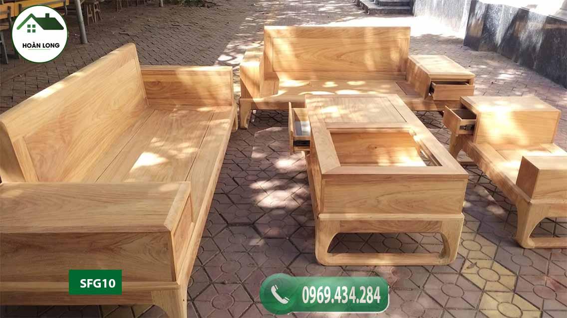 Bộ ghế sofa 2 văng chân quỳ chữ U gỗ gõ đỏ Pachy SFG10