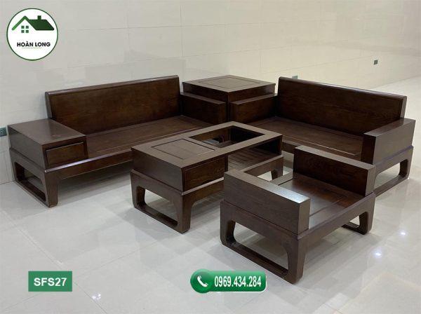 sofa 2 văng chân quỳ gỗ sồi Nga SFS27
