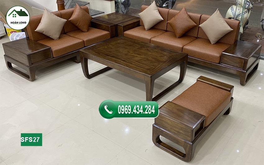 sofa 2 văng chân quỳ gỗ sồi Nga SFS27 đẹp hiện đại