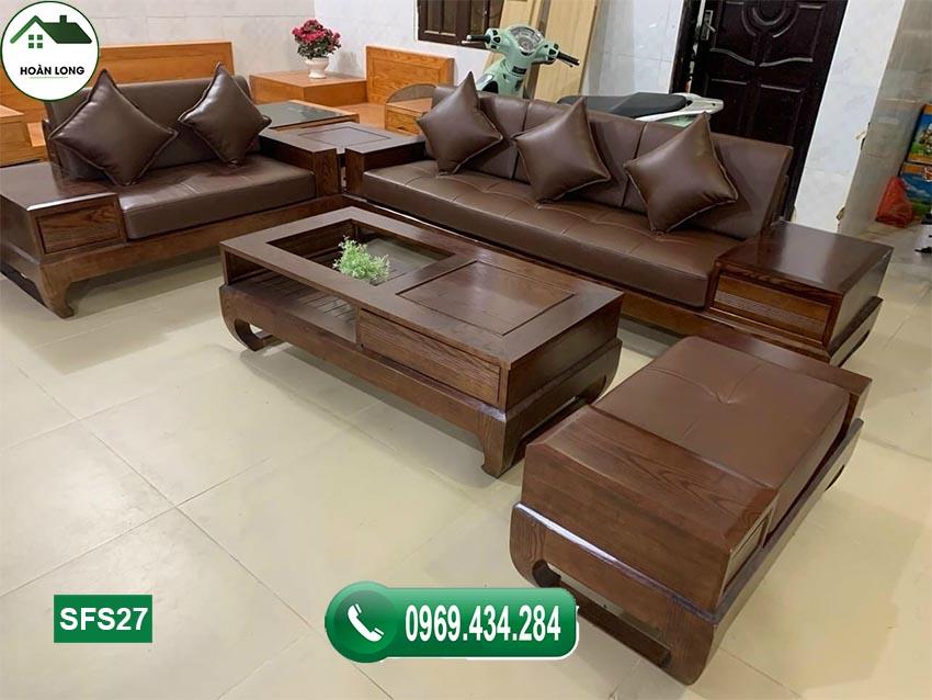 sofa 2 văng chân quỳ gỗ sồi Nga màu óc chó SFS27