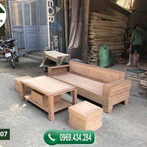 Bộ ghế sofa 1 văng 1 bàn nhỏ gọn gỗ xoan đào SFX07