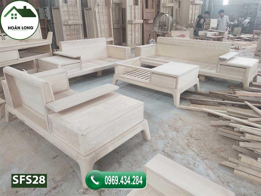 Bộ ghế sofa 3 văng góc chữ U gỗ sồi Nga SFS28