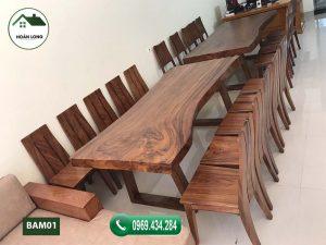 bàn ăn 10 ghế gỗ me tây BAM01