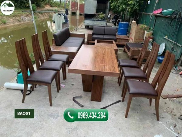 Bàn ăn 6 ghế mặt hình chữ nhật gỗ óc chó BAO01