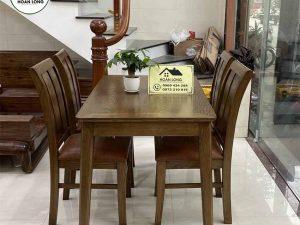 Bộ bàn ăn 4 ghế mặt chữ nhật gỗ sồi Nga BAS07