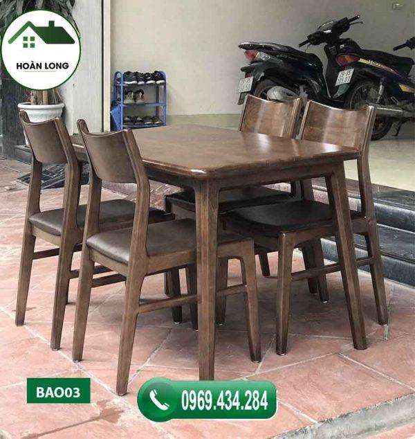 bàn ăn 4 ghế gỗ óc chó mặt chữ nhật BAO03