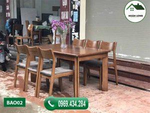 Bộ bàn ăn 6 ghế mặt chữ nhật đơn giản gỗ óc chó BAO02