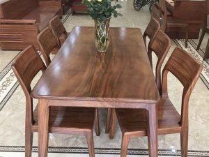 Bộ bàn ăn 6 ghế hình chữ nhật gỗ me tây BAM04