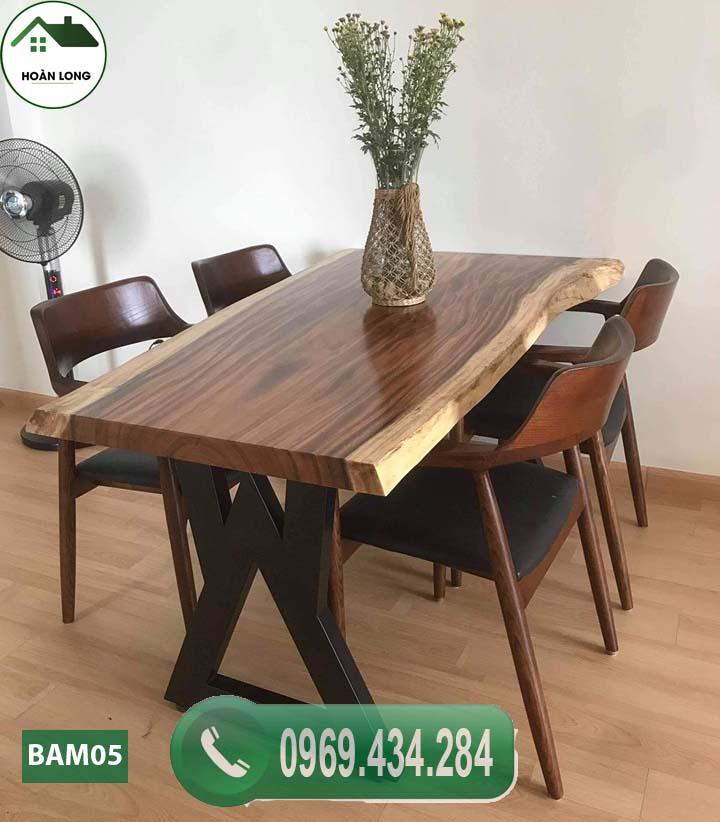 Bộ bàn ăn 4 ghế gỗ me tây nguyên tấm BAM05