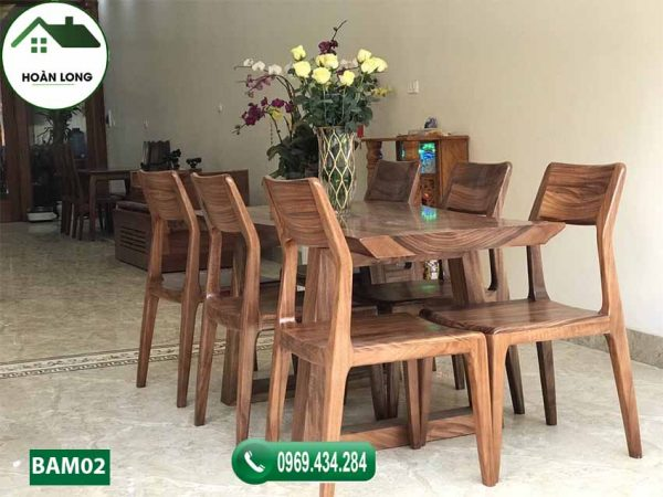 Bộ bàn ăn nguyên tấm 6 ghế gỗ me tây BAM02