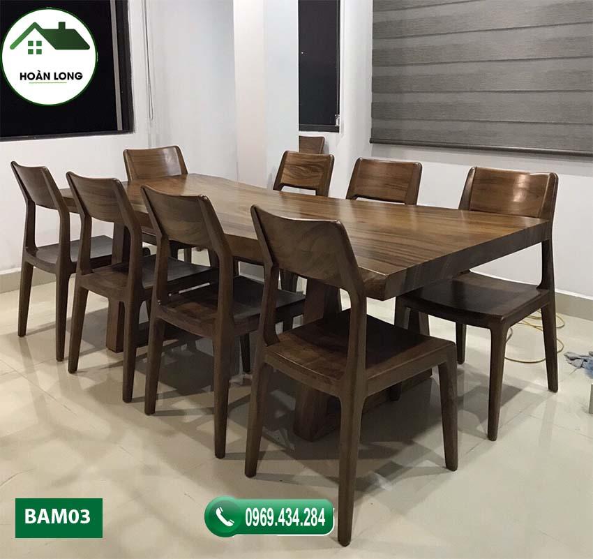 Bộ bàn ăn 8 ghế gỗ me tây nguyên tấm BAM03