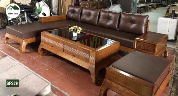 sofa chân choãi quỳ gỗ sồi Nga SFS29