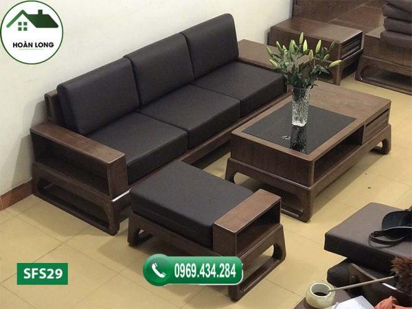 ghế sofa gỗ góc chữ L phòng khách nhỏ gọn