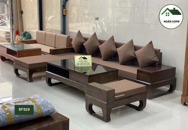 Bộ bàn ghế sofa chân quỳ gỗ sồi Nga SFS29
