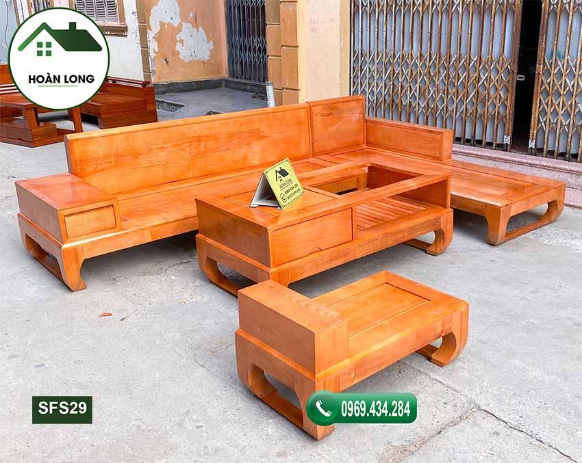 sofa góc L chân quỳ gỗ sồi Nga SFS29