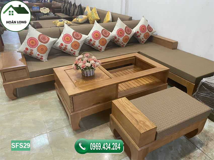 sofa góc chữ L chân quỳ SFS29