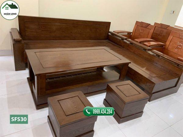 Bộ ghế sofa góc trứng mặt và tựa liền gỗ sồi Nga SFS30