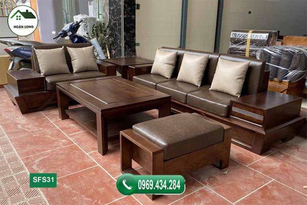 sofa chân thuyền vát gỗ sồi SFS31