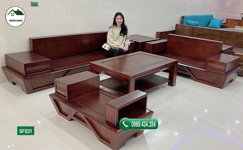Bộ bàn ghế sofa 2 văng chân thuyền gỗ sồi Nga SFS31