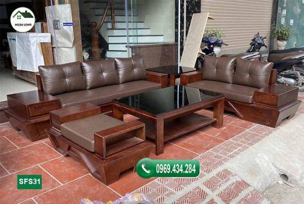sofa 2 văng chân thuyền vát gỗ sồi SFS31