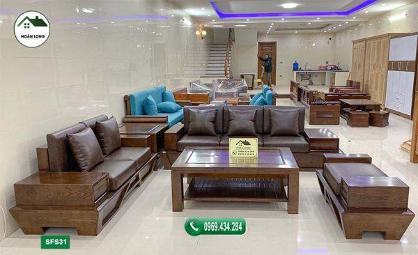 sofa chân thuyền vát gỗ sồi Nga SFS31