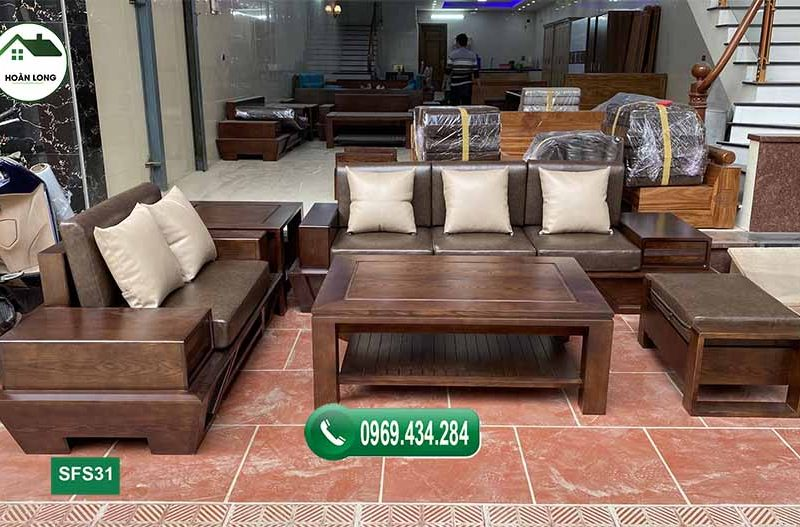 Tìm hiểu kích thước tiêu chuẩn sofa gỗ sồi cho phòng khách 2021