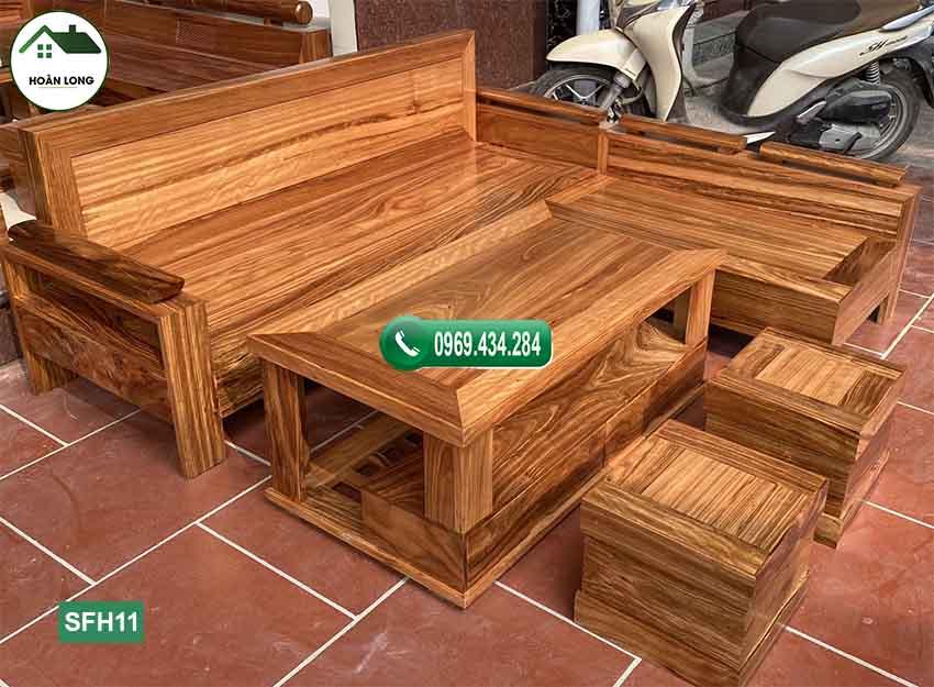 Bộ ghế sofa góc trứng nhỏ gỗ hương xám SFH11