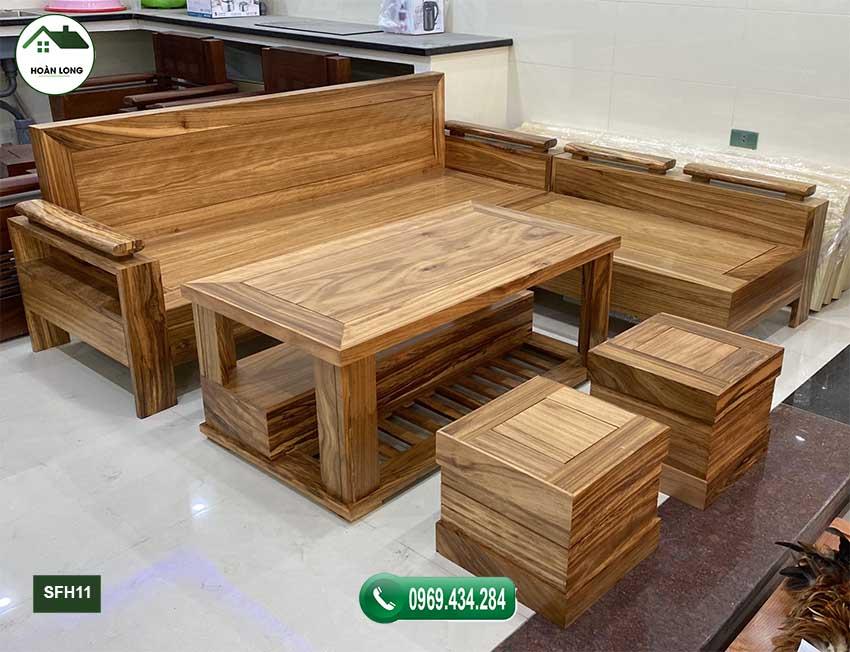 sofa góc trứng nhỏ gỗ hương xám SFH11