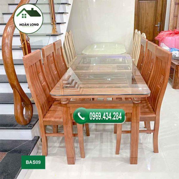 bàn ăn 6 ghế gỗ sồi BAS09