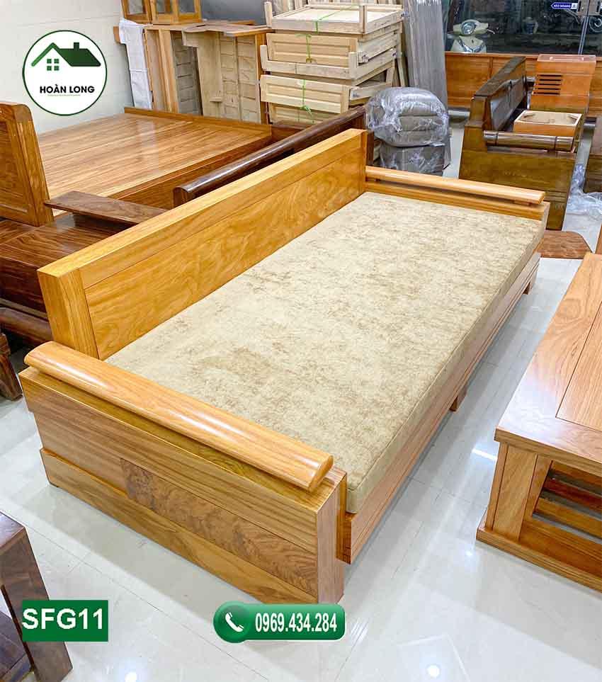Bộ ghế sofa 1 văng 1 bàn đơn giản gỗ gõ đỏ SFG11
