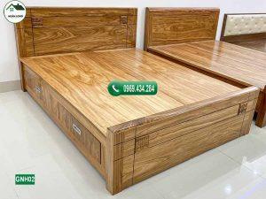 Giường ngủ 2 ngăn kéo gỗ hương xám GNH02