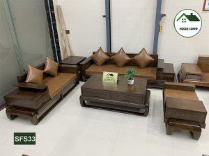 Bộ ghế sofa 2 văng đùi gà gỗ sồi Nga SFS33