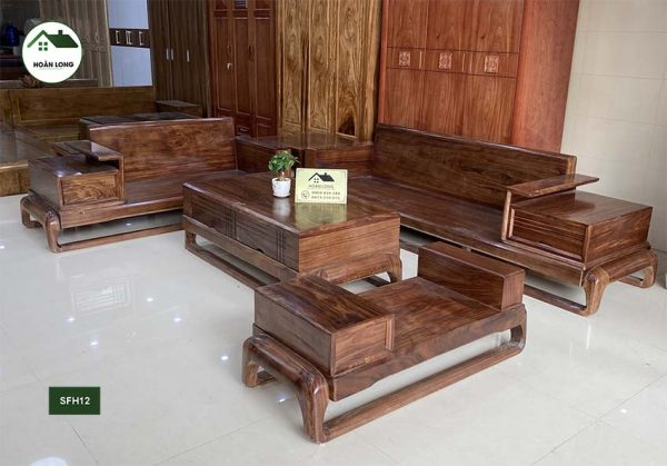 Sofa 2 văng hình đùi gà gỗ hương xám SFH12