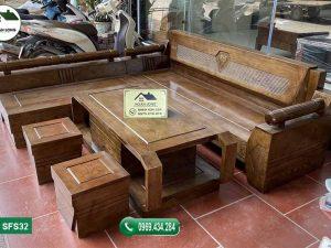 Bộ ghế sofa góc kim cương gỗ sồi Nga SFS3