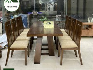 Bàn ăn 8 ghế hình chữ nhật gỗ sồi Nga BAS10