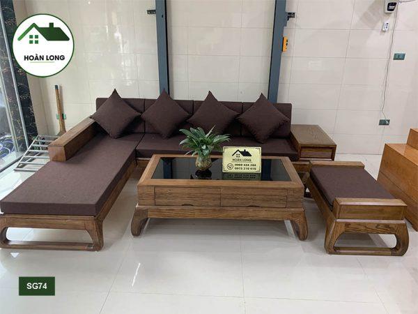 sofa chân choãi gỗ sồi Nga SFS34