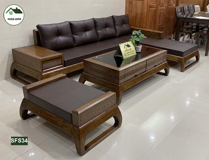Bộ ghế sofa chân choãi gỗ sồi Nga SFS34
