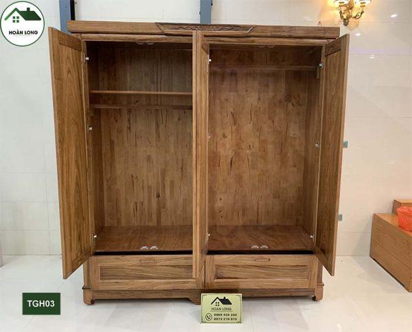 Tủ để quần áo 4 cánh 2 buồng gỗ hương xám TGH03