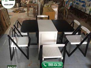 Bàn ăn 6 ghế thông minh gấp gọn gỗ công nghiệp BAC02