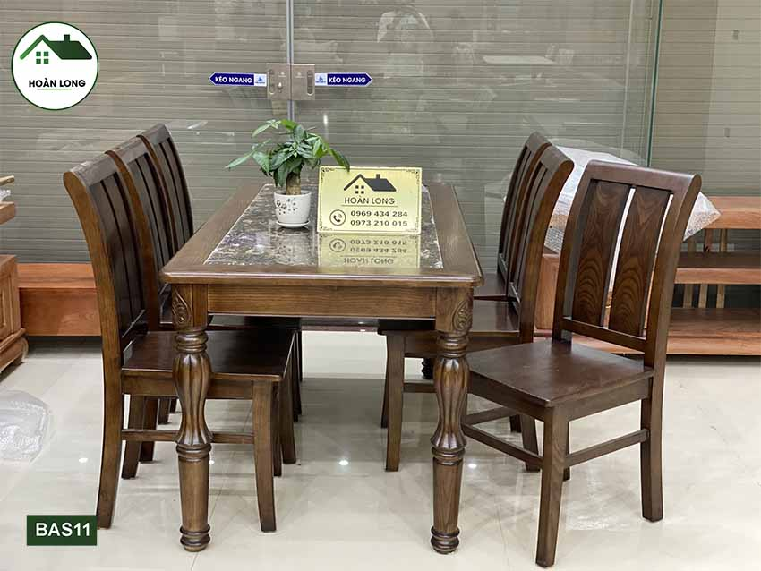 bàn ăn mặt đá 6 ghế lá khế gỗ sồi BAS11