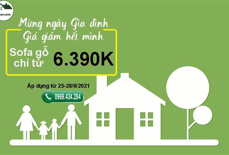 Mừng Ngày gia đình giá giảm hết mình: Sofa gỗ chỉ từ 6.390K